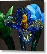 Three Glass Flowers Metal Print