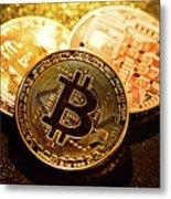 Three Golden Bitcoin Coins On Black Background. Metal Print