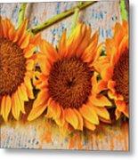Three Graphic Sunflowers Metal Print