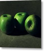 Three Green Apples Metal Print