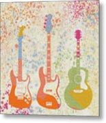 Three Guitars Paint Splatter Metal Print
