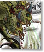 Three Headed Bird Cyborg Monster Attacking A City With Fire And Lasers For T-shirts Metal Print