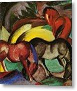 Three Horses 1912 Metal Print