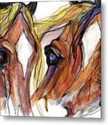 Three Horses Talking Metal Print