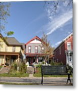 Three Houses And A Bench Metal Print