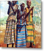 Three Joyful Girls Metal Print