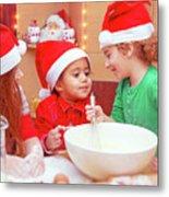 Three Kids Making Christmas Cookies Metal Print