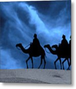 Three Kings Travel By The Star Of Bethlehem - Midnight Metal Print