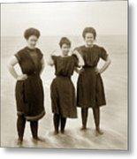 Three Ladies Bathing In Early Bathing Suit On Carmel Beach Early 20th Century. Metal Print