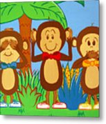 Three Monkeys No Evil Metal Print