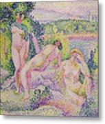 Three Nudes Metal Print by Henri Edmond Cross