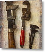 Three Old Worn Wrenches Metal Print
