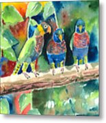 Three On A Branch Metal Print