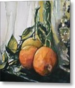 Three Oranges On Black Metal Print