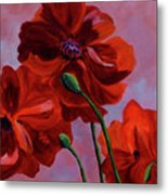 Three Oriental Poppies Metal Print