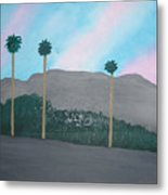 Three Palm Trees In The Desert Metal Print