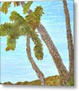 Three Palms At The Beach Metal Print
