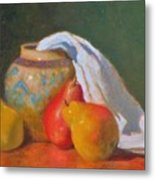 Three Pears With Persian Vase Metal Print
