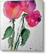 Three Pink Flowers 2 Metal Print