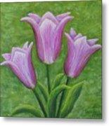 Three Pink Tulips Metal Print