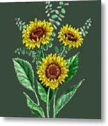 Three Playful Sunflowers Metal Print