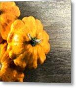 Three Pumpkins On Wood Metal Print
