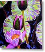 Three Purple Lilies Metal Print