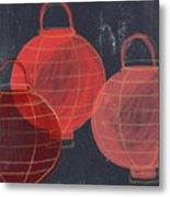 Three Red Lanterns- Art By Linda Woods Metal Print
