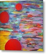 Three Red Moons Metal Print