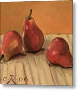 Three Red Pears Metal Print by Raimonda Jatkeviciute-Kasparaviciene