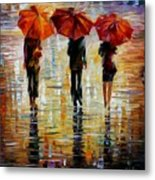 Three Red Umbrella Metal Print
