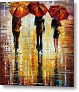 Three Red Umbrellas Metal Print