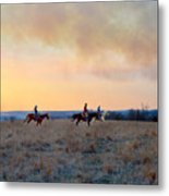 Three Riders In The Kansas Flint Hills Metal Print
