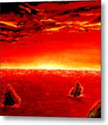 Three Rocks In Sunset Metal Print