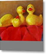 Three Rubber Ducks 3 Metal Print