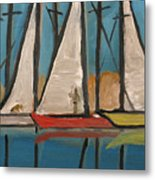 Three Saillboats Metal Print