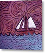 Three Sails And The Wind Metal Print