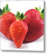 Three Strawberries Metal Print