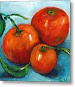 Three Tangerines Still Life Grace Venditti Montreal Art Metal Print