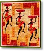 Three Tribal Dancers L B With Alt. Decorative Ornate Printed Frame. Metal Print