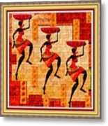 Three Tribal Dancers L B With Decorative Ornate Printed Frame Metal Print