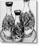 Three Vases Metal Print
