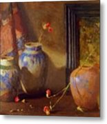 Three Vases With Impressionist Painting In Background Metal Print