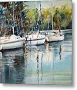 Three White Sails Docked Metal Print