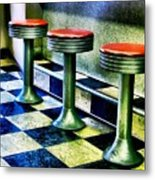 Three White Steamer Stools Metal Print