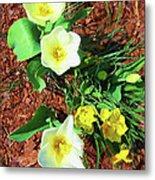 Three White Tulips Painting Metal Print
