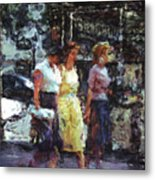 Three Women In Town Metal Print