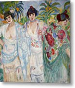 Three Women With Shawls Metal Print