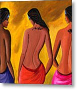 Three Women With Tattoos Metal Print