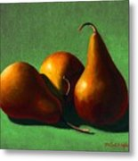 Three Yellow Pears Metal Print